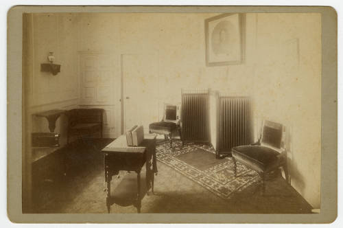 The Old Chamber at Mount Vernon, furnished as a sitting room, c. 1884-1890, looking toward the south wall.