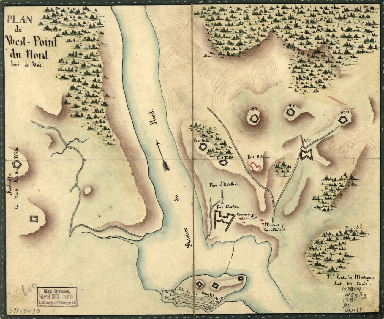 "Despite often being referred to as ""Fortress West Point,"" the military post actually consisted of a number of small forts and redoubts advantageously posted around a strategic bend in the Hudson River. - Plan de West-Point du nord, levé a vue, [1780]. Courtesy Library of Congress [G3804.W53S3 178- .P5]"