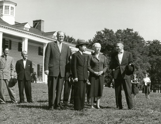 Prince Akihito of Japan on the Mount Vernon lawn, September 10, 1953