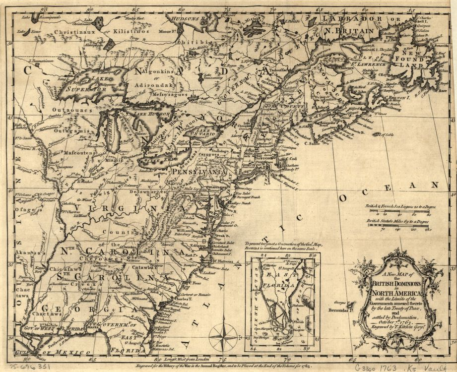 This 1763 map shows the territories established by the Royal Proclamation, but does not clearly show the proclamation line. Library of Congress G3300 1763 .K5