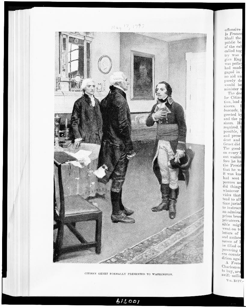 Howard Pyle's depiction of Genet meeting Washington appeared in Harper's New Monthly Magazine (Library of Congress AP2.H3) in April 1897.