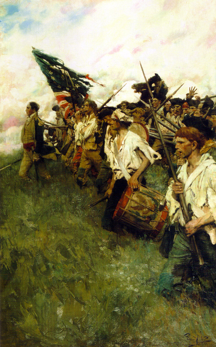 Famed American artist Howard Pyle painted for much of his life near Chadd's Ford.  This piece depicts a line of Continental Army soldiers marching to meet the British soldiers who have enfiladed the American lines. - The Nation Makers, by Howard Pyle, c. 1902. Courtesy Brandywine River Museum.