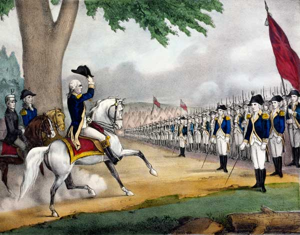 Washington Taking Command of the American Army at Cambridge, Mass., 1775. Lithograph by Currier and Ives, 1876.