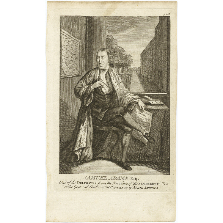 1770s print of Samuel Adams as a delegate to the Continental Congress, National Portrait Gallery NPG.2010.58
