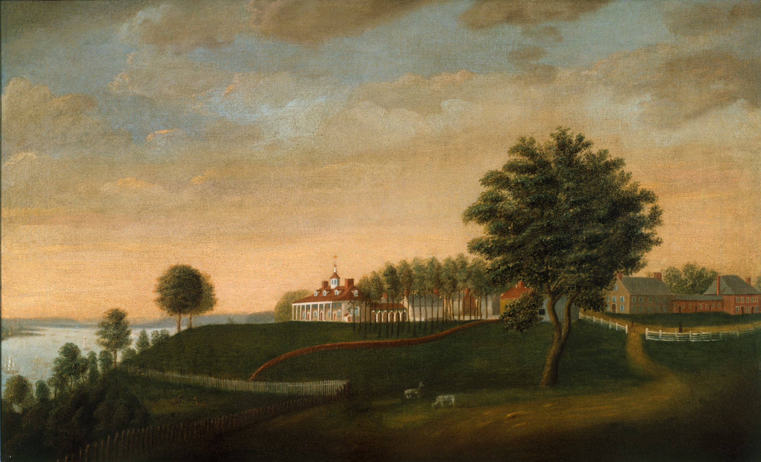 The East Front of Mount Vernon by Edward Savage (American, 1761 - 1817), c. 1787-1792, oil on canvas, H-2445/A, Mount Vernon Ladies' Association, Bequest of Helen W. Thompson.