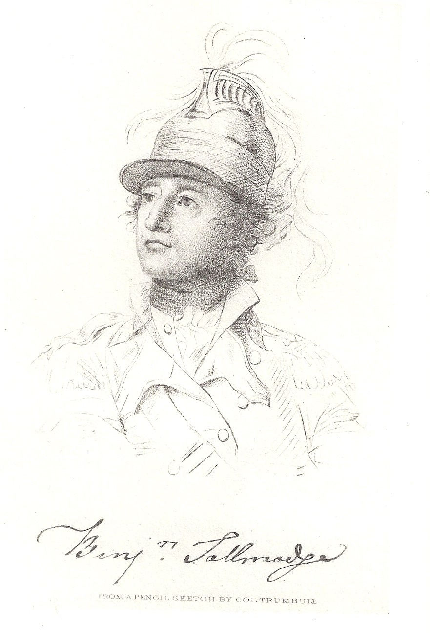 Benjamin Tallmadge as a dragoon, by John Trumbull, c. 1783. Source: Memoir of Colonel Benjamin Tallmadge. Sons of the Revolution, New York, 1904.