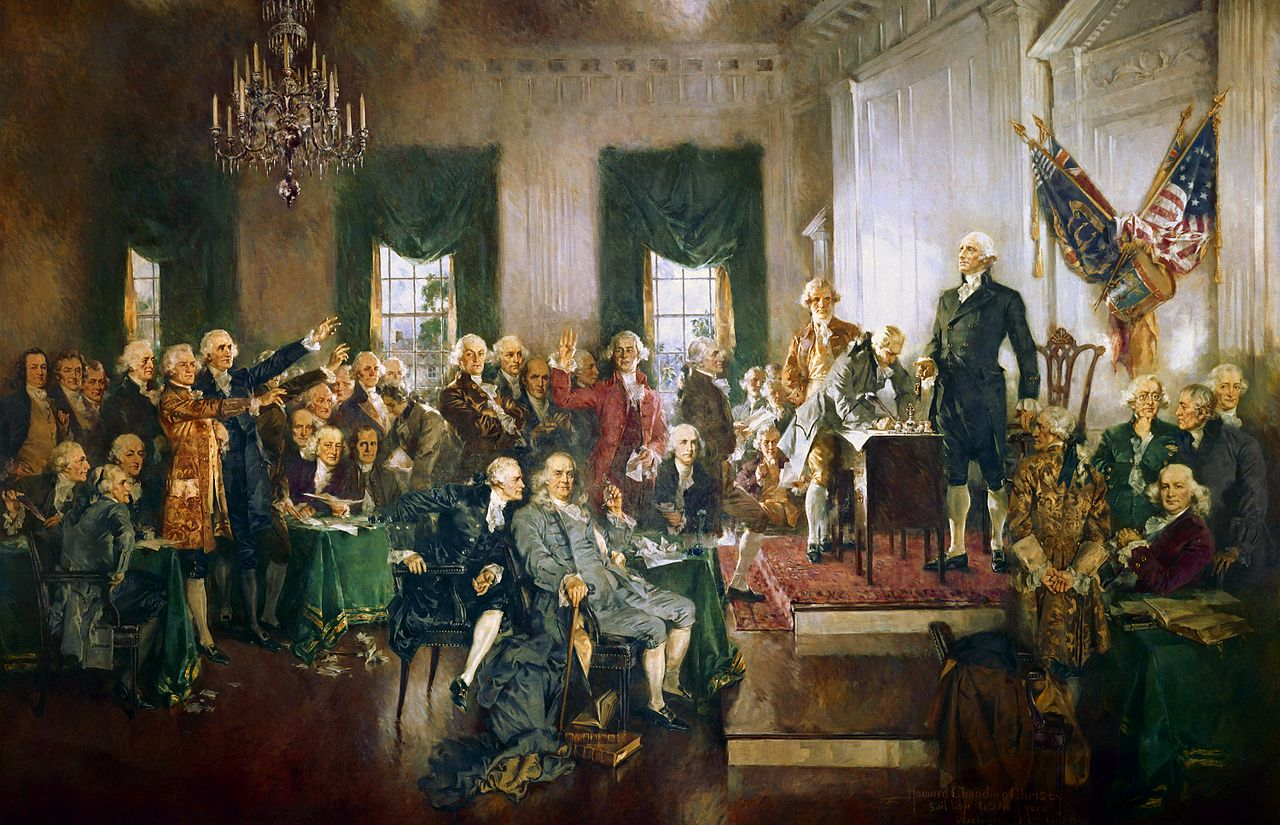 Howard Chandler Christy's interpretation of the signing of the Constitution, painted in 1940.