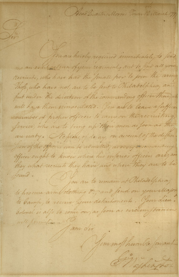 George Washington orders soldier sent to Philadelphia inorder to receive small pox inoculations - George Washington to David Grier, March 12, 1777. [RM-1171; MS-5907]. Washington Library, Mount Vernon, VA.