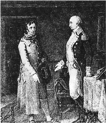 Modern depiction of Washington meeting with a spy. The Culper Ring's success depended on personal contacts and relationships. Central Intelligence Agency.