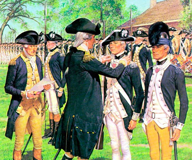 Washington awarding the first badges of merit at Newburgh, May 1783.