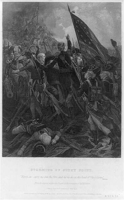 Anthony Wayne leading the assault on Stony Point, engraved after Alonzo Chappel, published  by Johnson, Fry and Co., NY, c. 1857. Library of Congress call number LOT 4412-IA [item] [P&P]