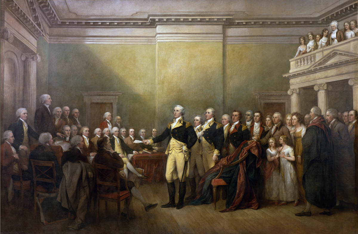 General George Washington Resigning his Commission by John Trumbull. Painted between 1822 and 1824, this work is on display in the Rotunda of the U.S. Capitol Building. (US Capitol)