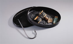 George Washington's tackle box, likely made in England, 1760-1800, sheet iron and leather, W-2201/A-B, MVLA