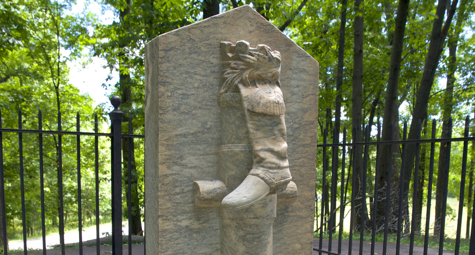The monument to Arnold's leg at Saratoga National Historical Park. MVLA.