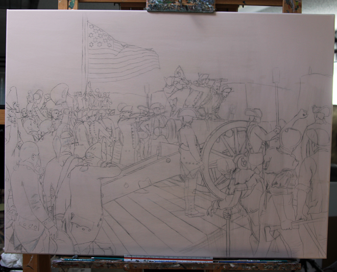 Preliminary sketch of Don Troiani's Yorktown painting (Source: Don Troiani, Historical Art Prints)