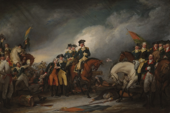 John Trumbull, The Capture of the Hessians at Trenton, December 26, 1776. Image via Yale University Art Gallery, Trumbull Collection (Weedon is depicted farthest to the right)
