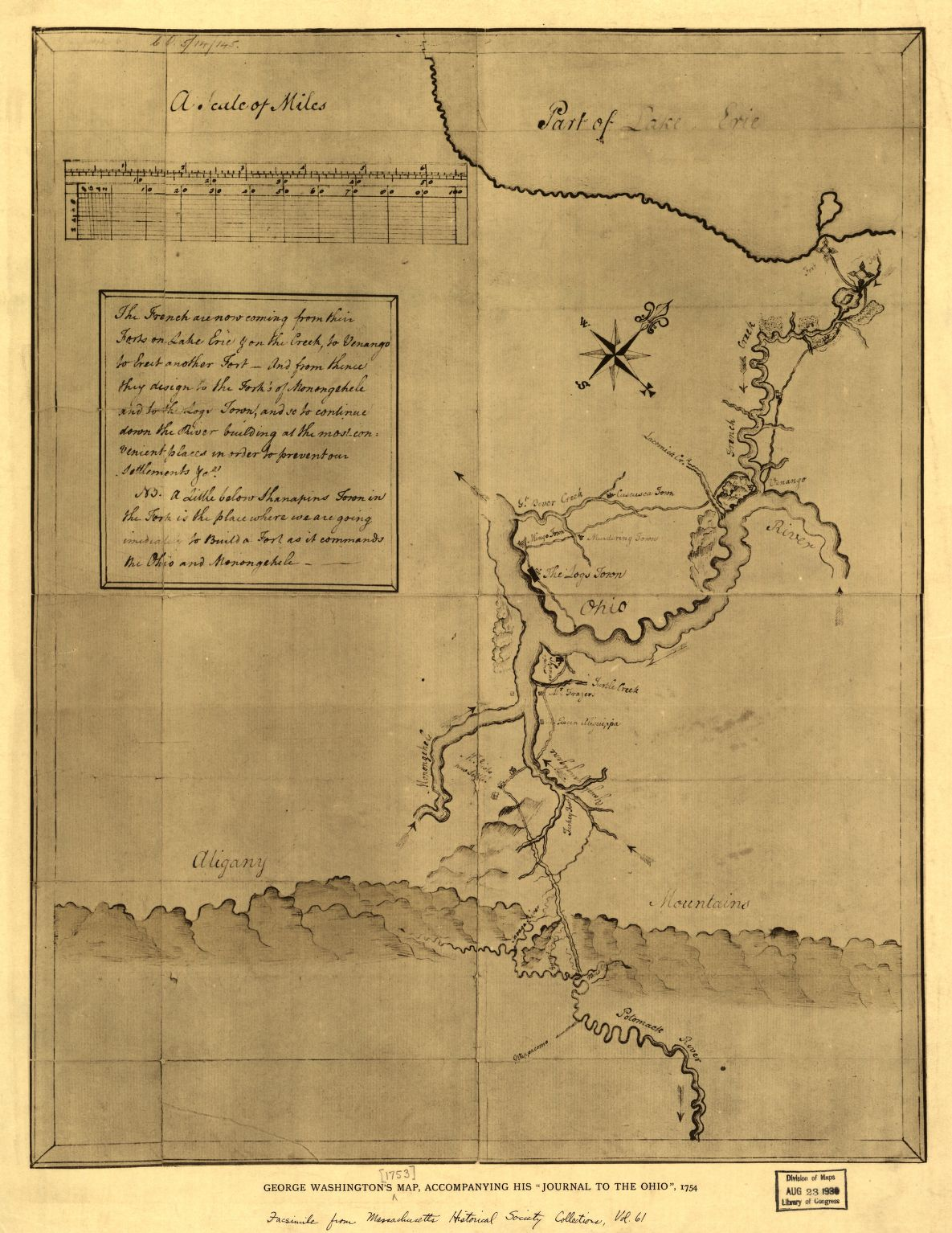 A map of the Ohio River Valley, drawn by Washington, with notes about the French presence, 1754. Library of Congress call number G3820 1754 .W3 1927 TIL.