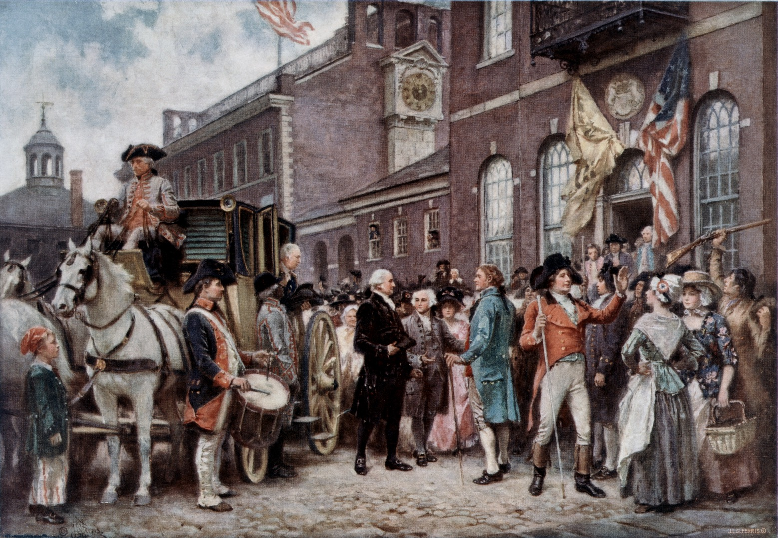 Washington's second inauguration at Philadelphia, by Jean Leon Gerome Ferris (1863-1930)