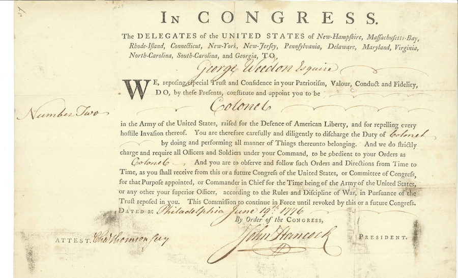George Weedon's commission as Colonel, signed by John Hancock. Image via Harlan Crow Library. View an enlarged version of this document.