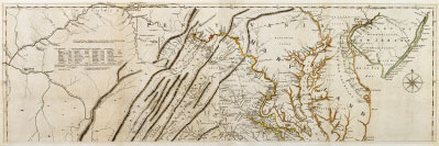 1750 map of Virginia owned by George Washington. By Joshua Fry and Peter Jefferson, Engraving and etching (London: Robert Sayer and Thomas Jeffreys, 1776), MAP-6475/A-B, MVLA.