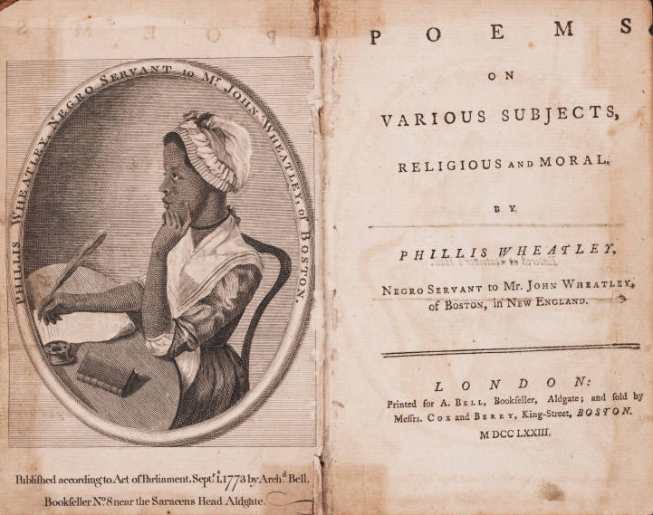 Front pages of Phillis Wheatley's book. Washington wrote to Ms. Wheatley thanking her for a poem sent to the General in 1775.