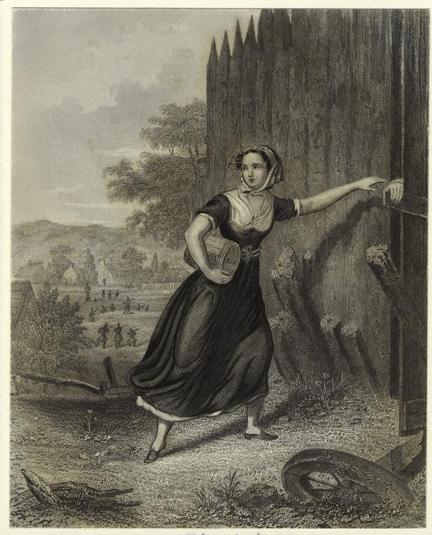 Women played crucial espionage roles during the Revolution, delivering messages and supplies, often behind enemy lines, under pretenses of visiting children or going to market. Elizabeth Zane at Fort Henry, print, 1782, New York Public Library, 808852.