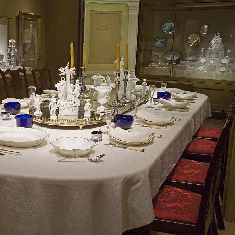 The elegant view of presidential dining as depicted in the A. Alfred Taubman Gallery of the Donald W. Reynolds Museum