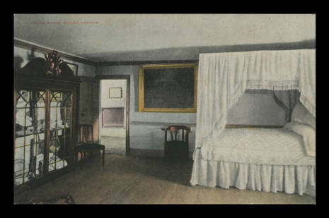 An early postcard image of the Yellow Room. From Mount Vernon Digital Collections.