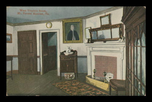 The Yellow Room, then known as the Green Room, c. 1890s. From Mount Vernon Digital Collections.