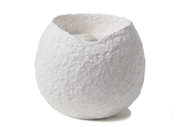 Picture of a white ball biodegradable coton fibre cremation urn for cats on sale at Muses Design Urns. Front view.