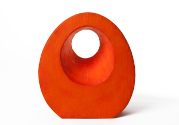 Picture of a beautiful orange tear drop shaped biodegradable paper cremation urn on sale at Muses Design Urns. Front view.