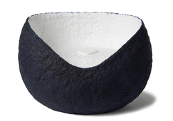 Picture of a white and blue ovoid shaped biodegradable cremation urn for dogs on sale at Muses Design Urns. Front view.