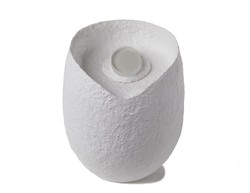 Picture of an ovoid biodegradable cremation urn made of white cotton fibre on sale at Muses Design Urns. Front view.
