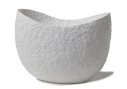Picture of a white biodegrdable coton fibre cremation urn shaped as a crib for children on sale at Muses Design Urns. Front view.
