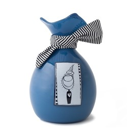 Picture of a deep blue blown glass handkerchief wrapped ball cremation urn for children on sale at Muses Design Urns. Front view.