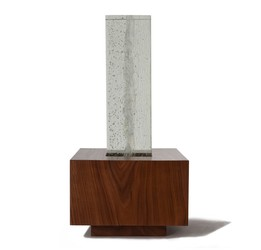 Picture of a beautiful glass and walnut wood cremation urn on sale at Muses Design Urns. Front view.