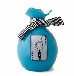 Picture of an aqua blown glass handkerchief wrapped ball cremation urn for children on sale at Muses Design Urns. Front view.