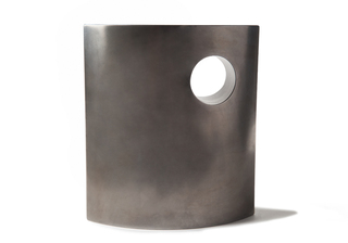 Picture of a beautiful stainless steel cremation urn on sale at Muses Design Urns. Front view.