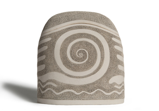 Picture of a beige stele shaped ceramics (faience) cremation urn on sale at Muses Design Urns. Front view.