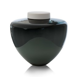 Picture of a deep grey blown glass cremation urn for adult on sale at Muses Design Urns. Front view. Glossy finish.