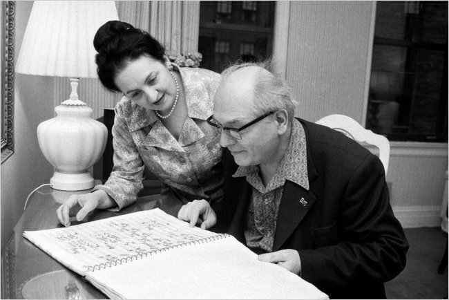 Yvonne Loriod with her husband, the composer Olivier Messiaen, who died in 1992