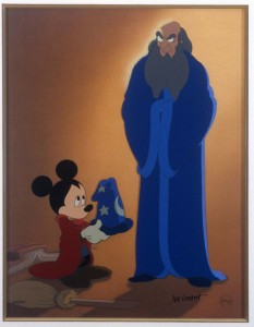 "From ""Fantasia"" and ""Fantasia 2000."" Entitled: ""A Lesson Learned"" as Mickey hands back the magic hat to Yen Sid (""Disney"" spelled backwards). Limited edition (244/300) cel of Mickey and Yen Sid (Disney backwards). Signed by Joe Grant. Certificate of Authenticity. [Image: 13-1/2""W x 17-1/2""H. Frame: 23-1/4""W x 27-1/8""H] SeqID-0449 8/3/2005"