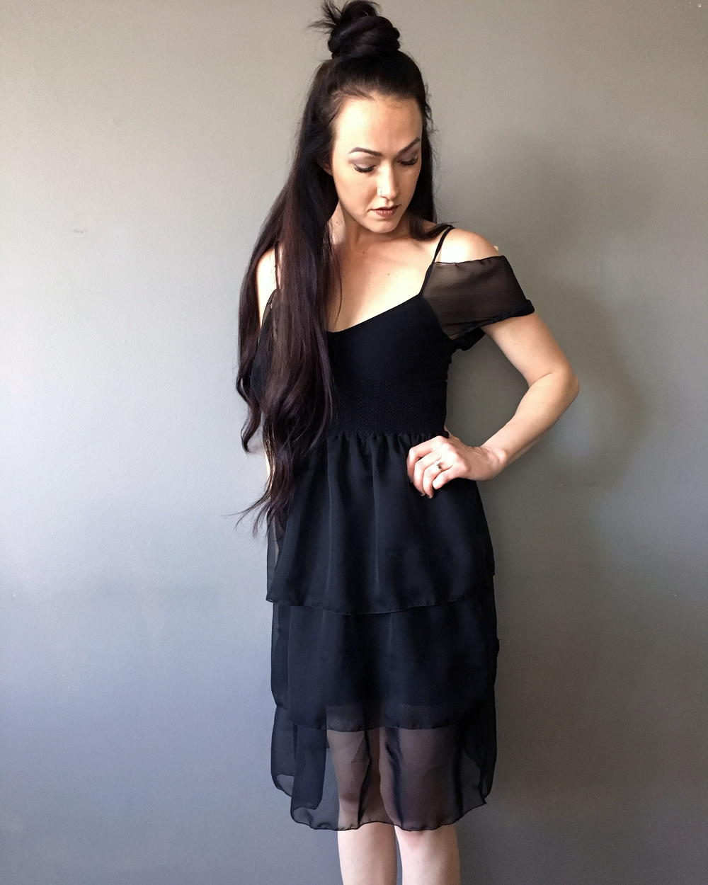 DIY Chiffon Little Black Dress Refashion