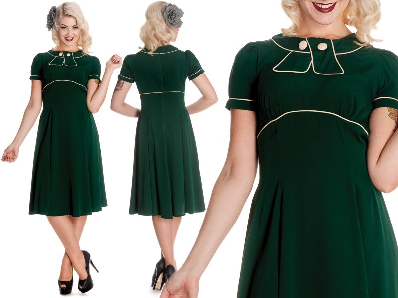 Hell Bunny Mae West Plus Size Dress In Green Monkey Wrench Clothing
