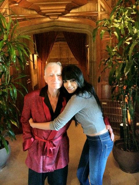 Sherlyn Chopra with Playboy Founder Hugh Hefner