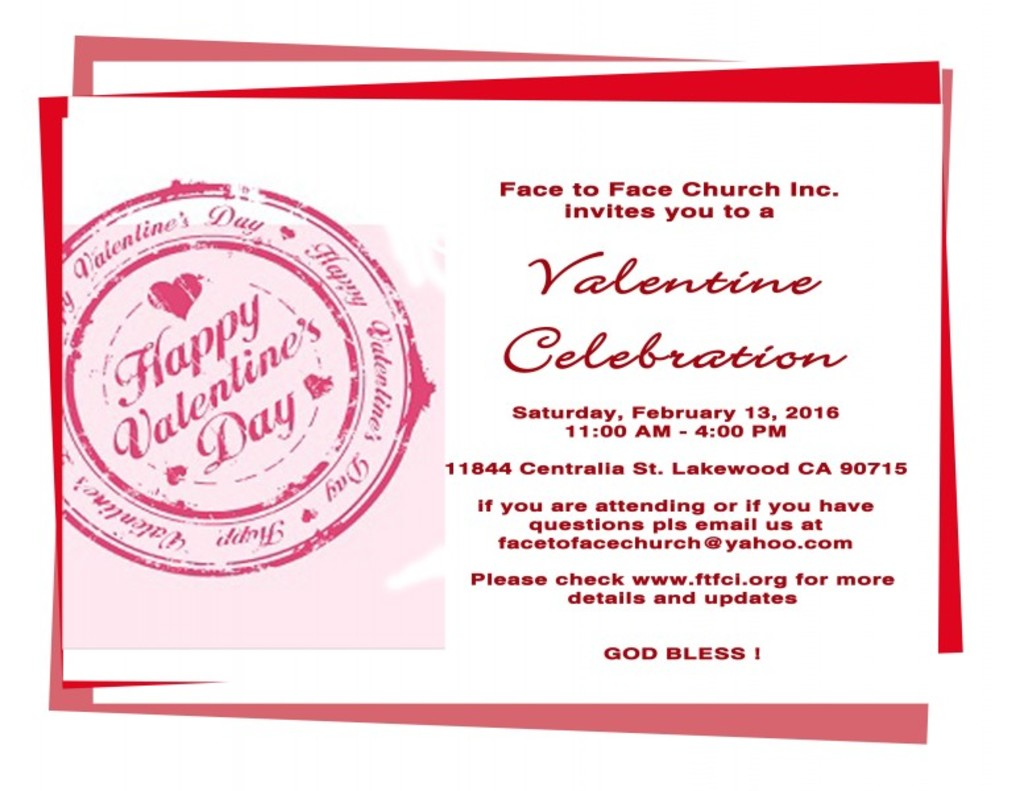 Face to Face Church Inc. - Photos - Valentine Party Details