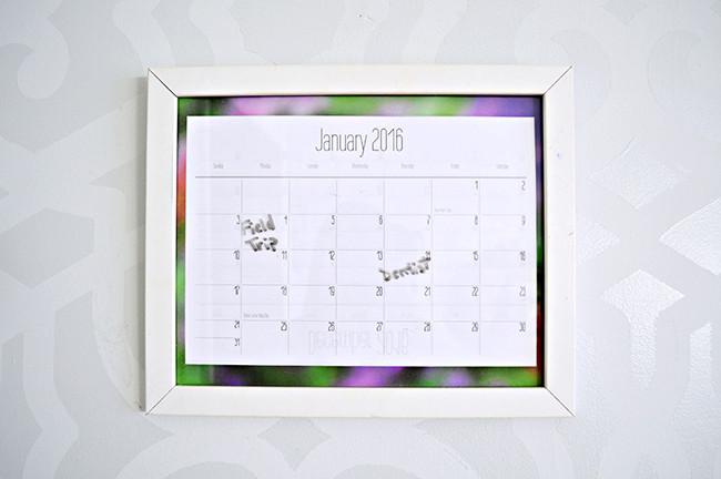 Personalized Dry Erase Calendar