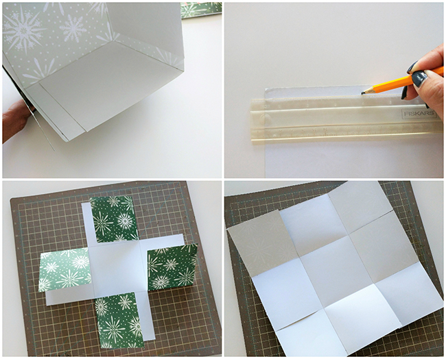 Use The 11x11 Piece Of Scrapbook Paper For Lid Using A 12 Inch Ruler On Back Leave Half Over Hang Each Side And Mark At