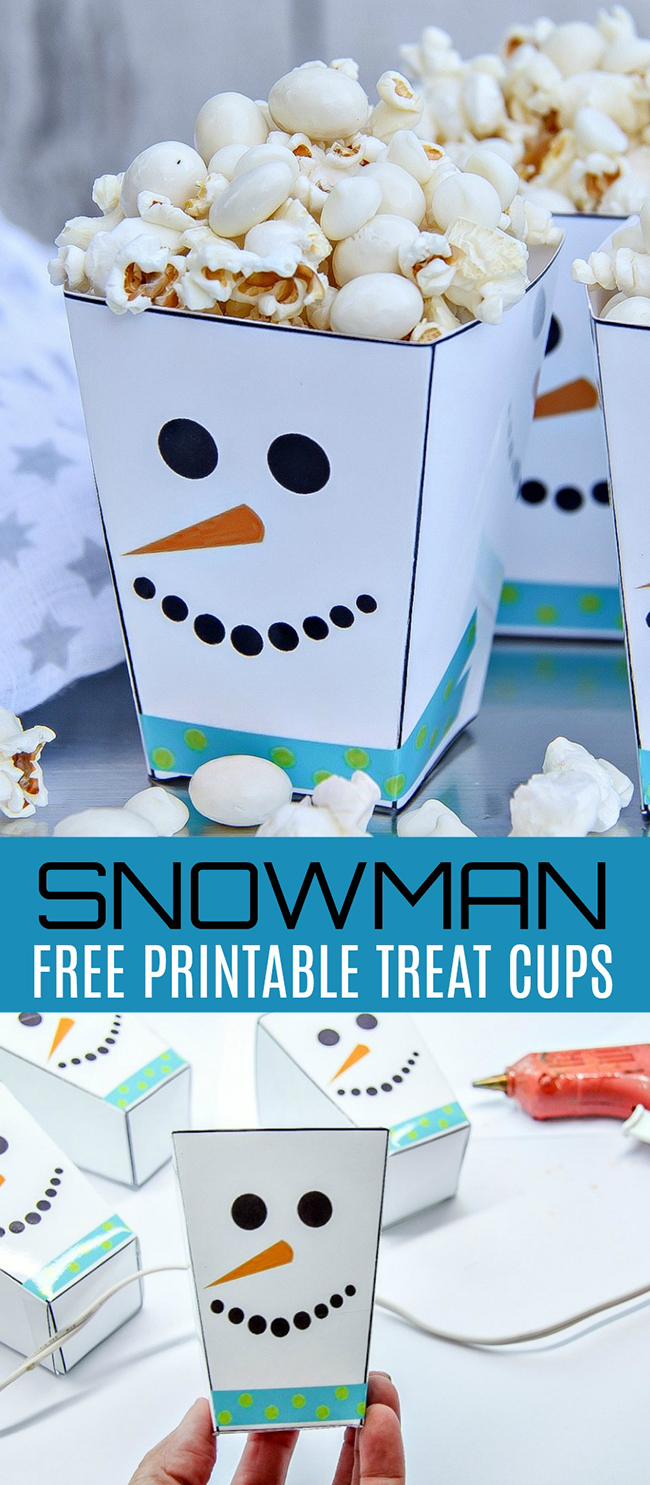 Printable Snowman Treat Cups Craft