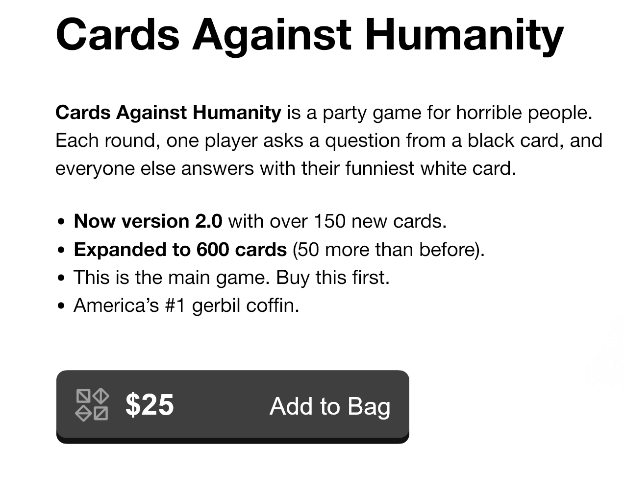 Cards against humanity, gutsy writing